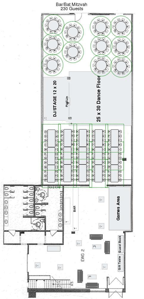 Eglinton West Gallery Bar Mitzvah Floor Plan